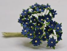 ROYAL BLUE SINGLE-LAYERED Miniature Daisy (XS) Mulberry Paper Flowers